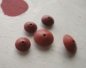 VINTAGE RED BEADS Seventies Boho Geometric Round Disk Wood
