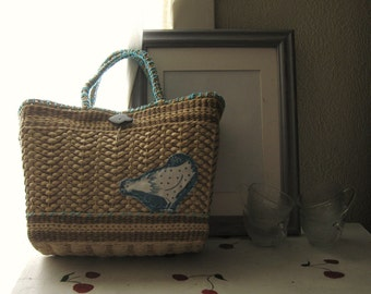 VINTAGE STRAW TOTE Upcycle