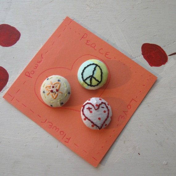 "BUTTONS HANDMADE EMBROIDERED Set Boho Hippie Style ""Peace, Love & Flower Power"""