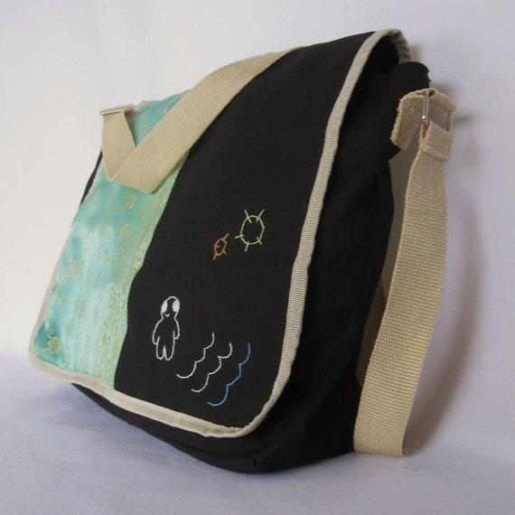 "MESSENGER BAG BLACK Art Book Student School ""Alien Monster Boy Contemplates the Surf"""