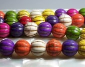 Multi color fluted Howlite semi precious gemstone beads 11pcs