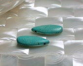 Pair of Howlite Teardrop Semi precious GEMStones Turquoise 2pcs Beads Jewelry Supplies Jewellery Supplies Pendant Focal Bead