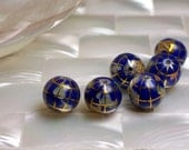 2pcs 10mm Gemstone Blue Lapis Inlay GLOBE beads - jwlrywrkroom