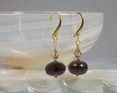 Earrings Smoky Quartz and Swarovski Crystal