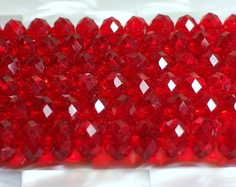 12 pcs 8mm Chinese Crystal Glass Rondelles Clear Red Faceted Beads Jewelry Jewellery Craft Supplies