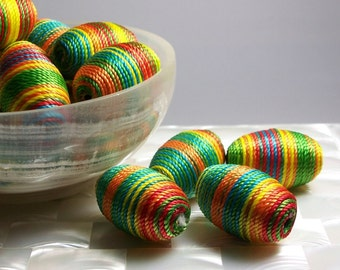 2pcs Bead Multi Color Cord wrapped Oval shape Large Jewelry Jewellery Craft Supplies Colorful Striped Orange Yellow Red Green Blue Chunky