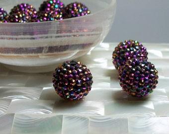 2pcs 21mm Round Large Chinese Crystal Beaded Bead Focal Iridescent Plum/Purple Jewelry Jewellery Craft Supplies