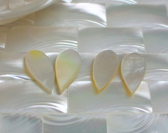 8pc Mother of Pearl Shell Beads Teardrop Inverted White Cream Jewelry Beads Jewellery Supplies