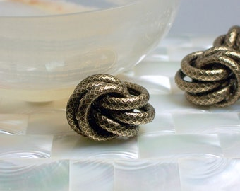 1pc Bead Love Knot bead Triple ring Large Textured Bronze plated Brass Fancy Jewelry Jewellery Craft Supplies Brown Snake type Imprint
