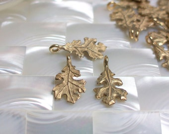 1pc Charm Bead Dangle Oak leaf Matte gold Nature Fauna Jewelry Supplies Jewellery Supplies 1pc
