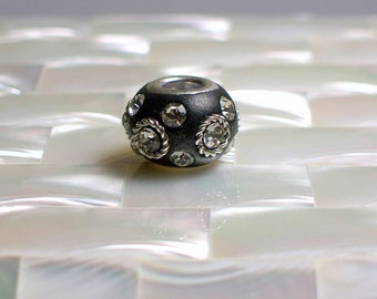 2pcs Polymer Clay Bead Black European Style Rhinestone Silver Tone Embellishments Cable style Jewelry Jewellery Craft Supplies