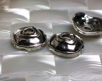 3pcs Bead Caps set Large Antique Silver tone Alloy metal Rose design 20mm Lead free Jewelry Findings Jewellery Supplies
