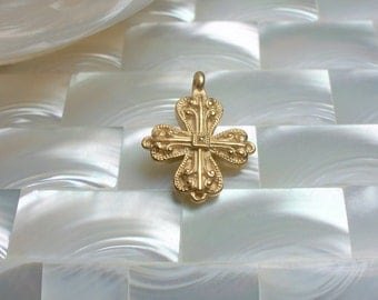 1pc Cross Charm Pendant Matte GOLD plated brass Religious Charm Faith Pendant jewelry Supplies Jewellery Supplies