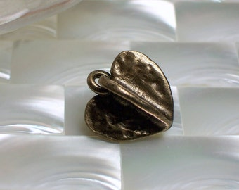 Bronze gold open fan heart charm bead 1pc