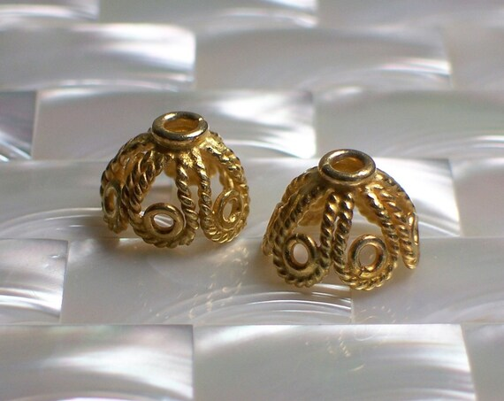 Bead caps Gold plated filligree design set of 2