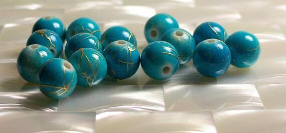 15pcs Beads round acrylic Turquoise