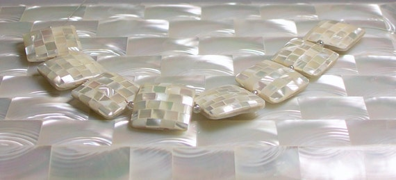 20mm Shell Beads Flat Square White Mosaic strand 8 pcs Mother of Pearl Jewelry Beads Jewellery Craft Supplies Iridescent