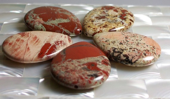 African Cappuccino Jasper stones Teardrop large 5pcs Set B