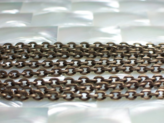 Chain Antiqued Bronze small oval link 1 foot
