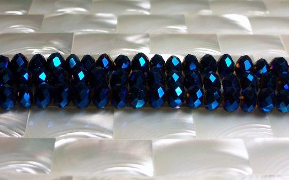 Czech Glass Crystal rondelle strand 8mm Metallic Royal blue 35pcs
