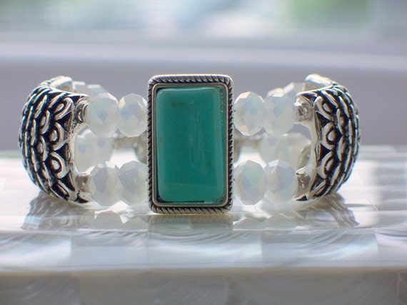 Cuff Bracelet with Turquoise and Opalescent Crystals