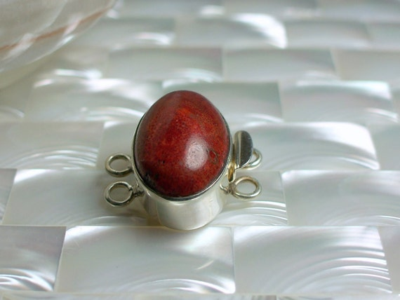 Clasp Red Coral Oval Sterling Silver Box clasp