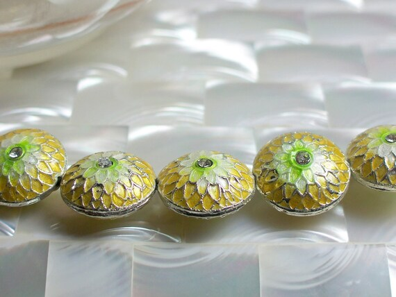 Cloisonne Beads Yellow and Green Chrysanthemum with Crystal center 2pcs