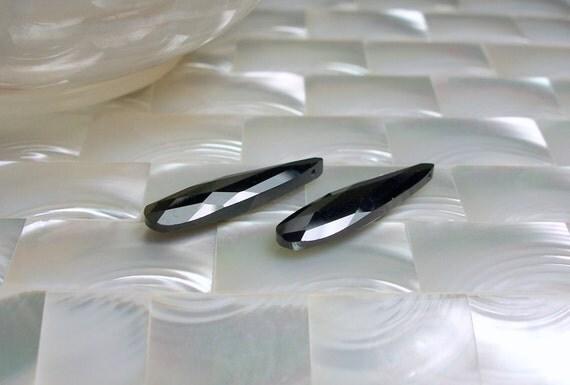 Cubic Zirconia briolette pair jet Black 7 by 28mm 2 pcs