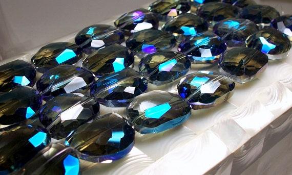 Chinese Designer Crystals Meridian Blue kidney shape 7pc strand