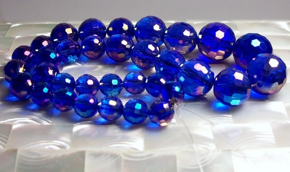 Bead Strand Faceted Iridescent Blue Chinese Crystal glass graduated beads
