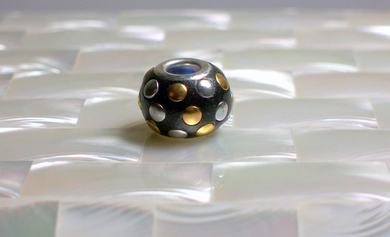 1pc Polymer Clay Bead Black silver tone gold brass Embellished European Cable Style Jewelry Jewellery Craft Supplies