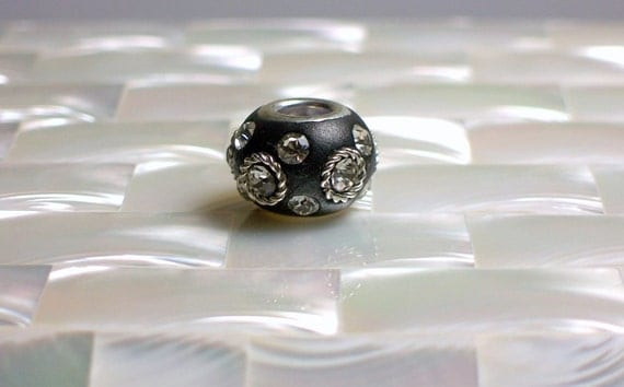 1pc Polymer Clay Bead Black European Style Rhinestone Silver Tone Embellishments Cable style Jewelry Jewellery Craft Supplies