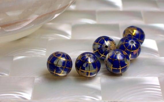 2pcs 10mm Gemstone Blue Lapis Inlay GLOBE beads