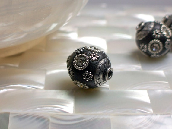 1pc Polymer clay Bead Black Round Rhinestone Bead Jewelry Jewellery Bead Jewelry Jewellery Craft Supplies