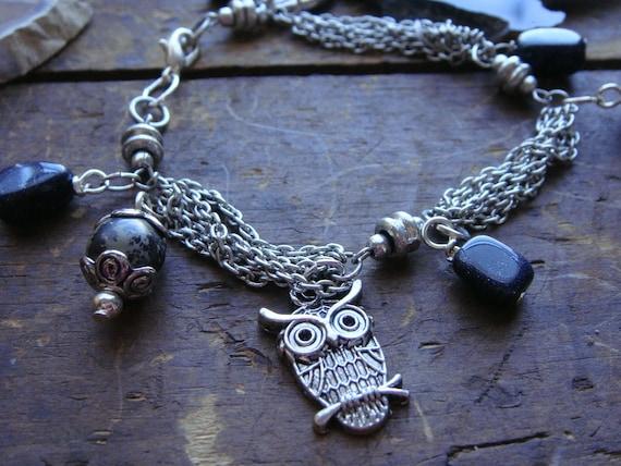 Silvertone Owl Jasper Goldstone Charm Bracelet