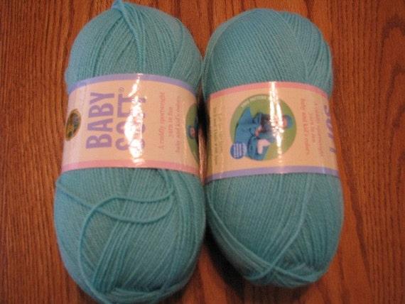 Two Skeins Spring Green Lion Brand Baby Soft Yarn