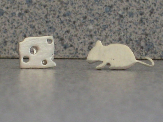 Mouse and Cheese sterling silver stud earrings