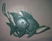 Two Vintage Shiny Plastic Molded Aqua & White Fish