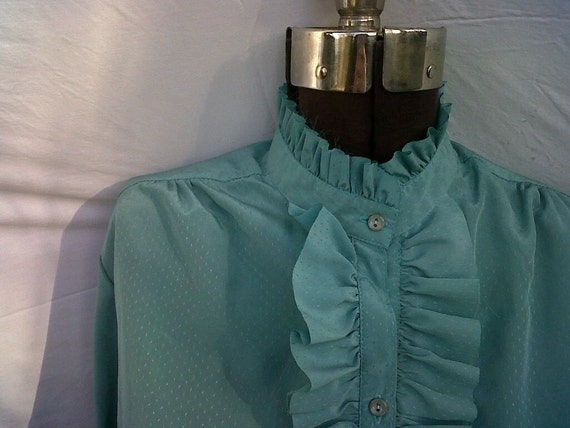 80s Era Victorian Turquoise Bib Ruffle Blouse