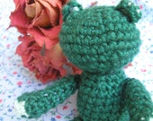 Sweet Sage -Tiny Adorable Crocheted Amigurumi Teddy Bear by lostsentiments - MADE TO ORDER