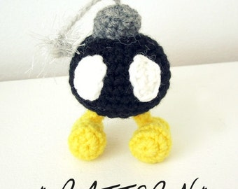 PATTERN for Bomb Omb - Amigurumi Plush Toy - Instant Download - Inspired by Super Mario Bros