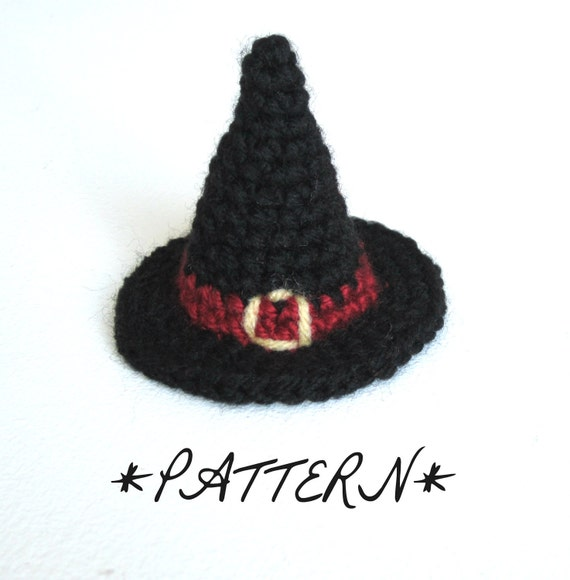 PATTERN - Tiny Witch Hat Crocheted in Amigurumi - Instant Download - by lostsentiments
