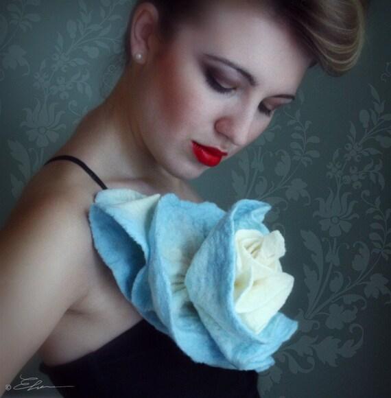 Hand-Felted Blue Rose Brooch