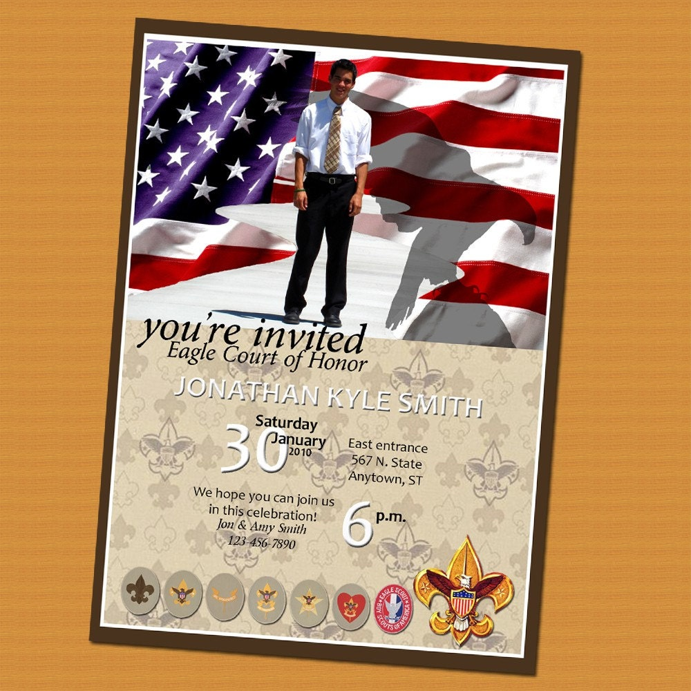 Eagle Scout Court of Honor Invitation Photo Card – Eagle Scout Invitation Cards