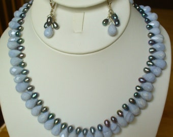 Blue lace faceted briolette and pearl necklace