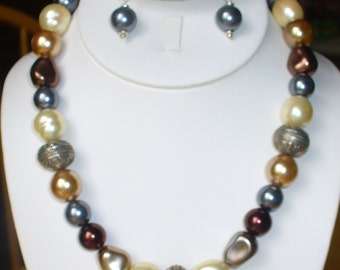 Multi color glass pearl and silver necklace