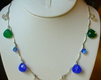 Blue and green faceted glass briolette necklace set