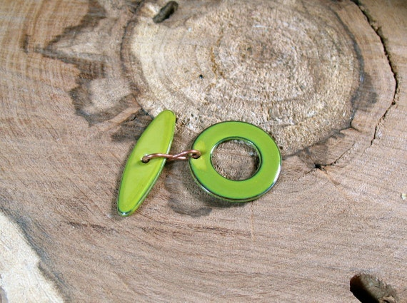 Handmade Lime Green Enamel over Copper Toggle Set BRIGHT SUMMER COLOR