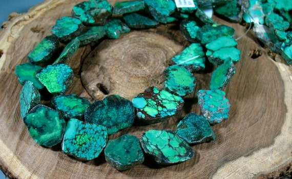 Superb Natural GREEN TURQUOISE Slab Nugget Beads 16 Inch Strand