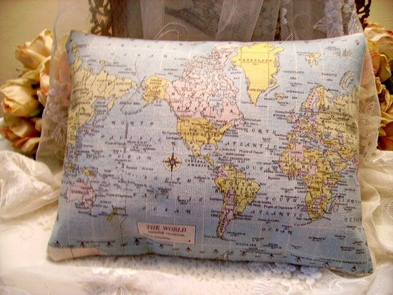Vintage Chic World Map Accent Canvas Pillow